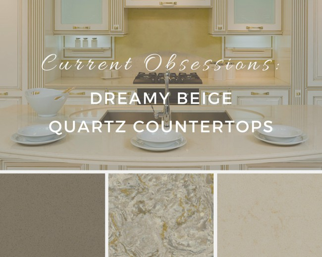 Current obsessions dreamy beige quartz countertops for Beige and taupe kitchen